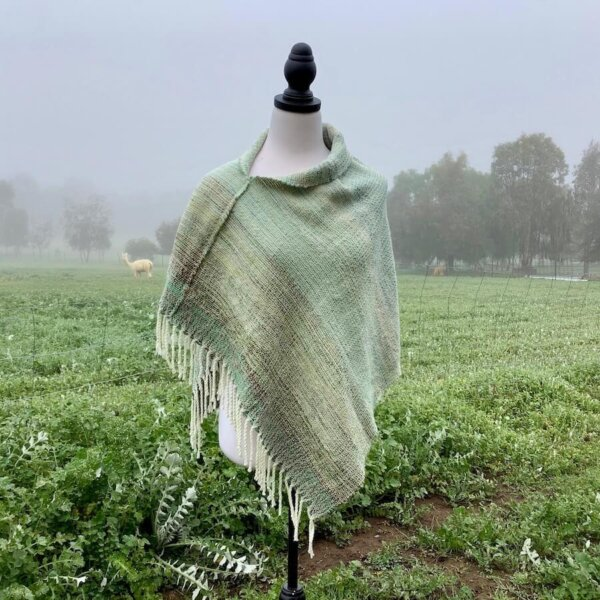 warm variegated green poncho