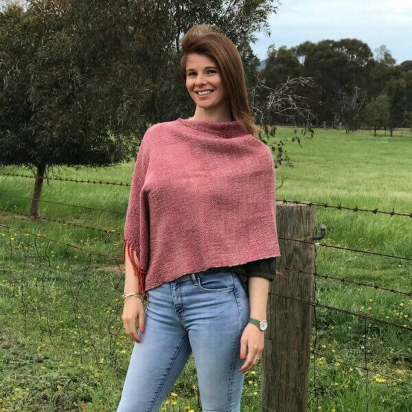 Ladies Poncho, naturally dyed & handwoven