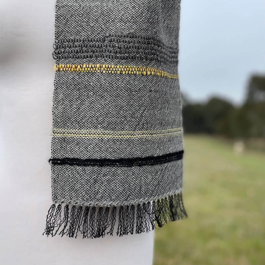 Grey scarf with yellow detail